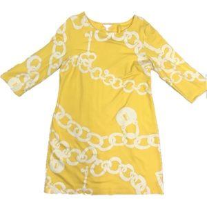 Lilly Pulitzer chain lock yellow Jonah shift dress